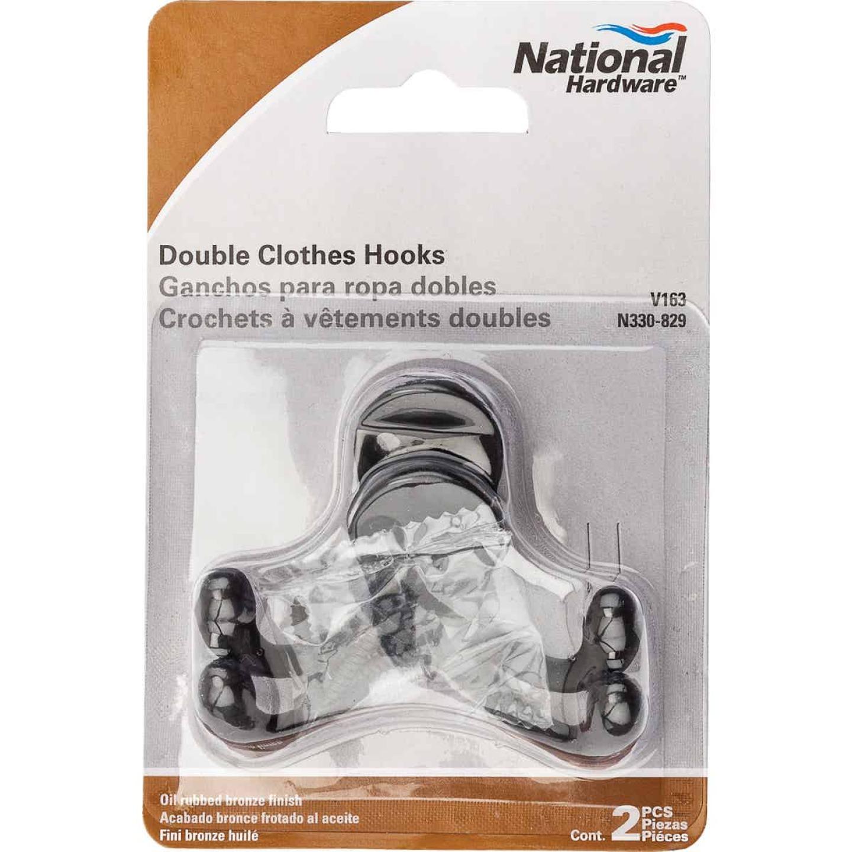 National Oil Rub Bronze Double Cloth Wardrobe Hook, 2 per Card Image 2