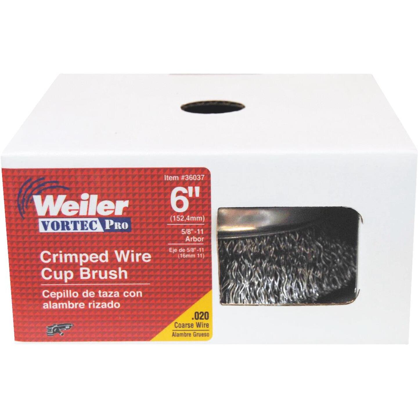 Weiler Vortec 6 In. Crimped 0.02 In. Angle Grinder Wire Brush Image 2