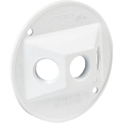 Bell 3-Outlet Round Corrosion Resistant Zinc White Weatherproof Outdoor Box Cover
