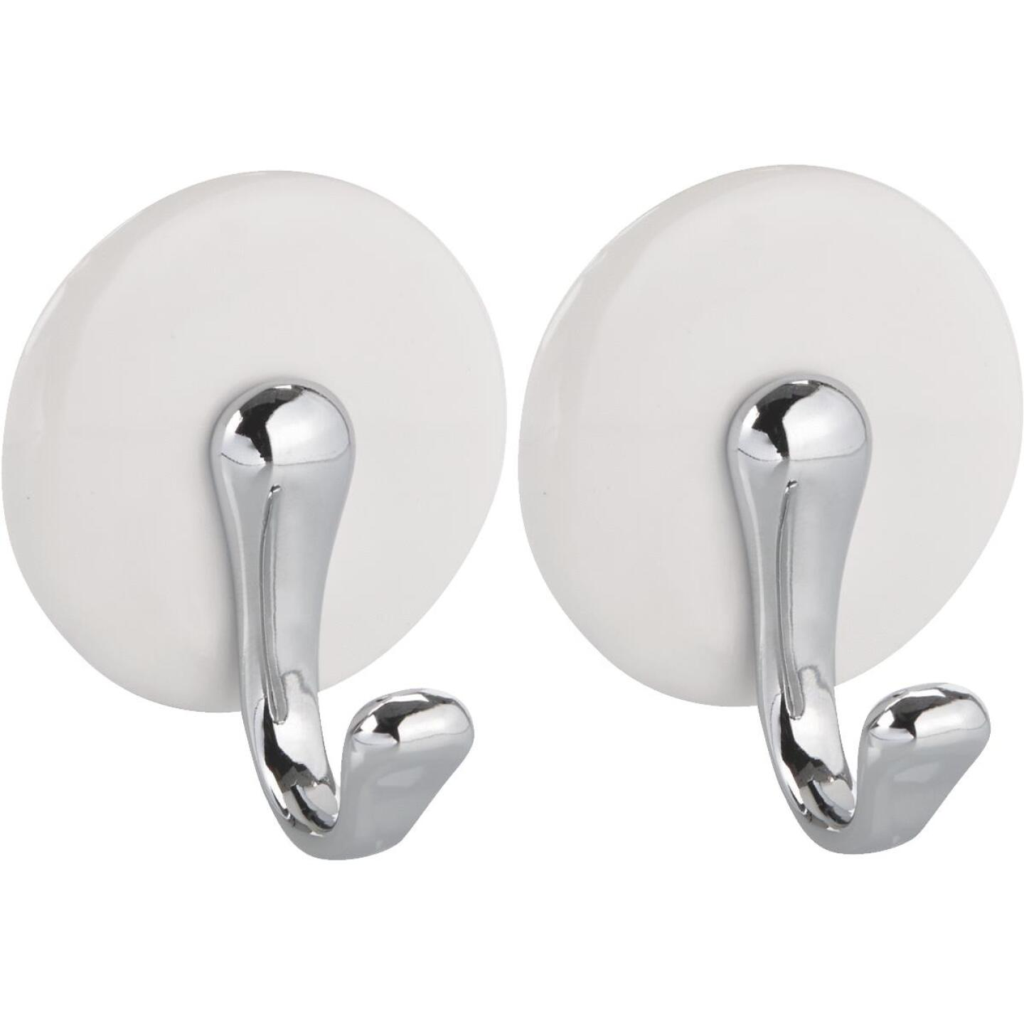InterDesign Forma York White & Chrome Adhesive Hook Image 1