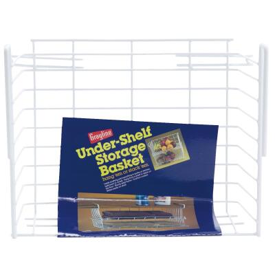 Grayline 10 In. W. x 6-1/4 In. H. x 12 In. L. Vinyl Coated Wire Undershelf Storage Basket, White