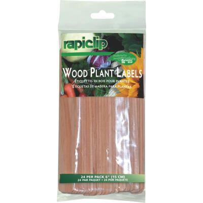 Rapiclip 6 In. Wood Garden Marker & Plant Label (24-Pack)