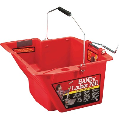 HANDy Ladder Pail 1.5 Gal. Gray Painter's Bucket with Fixed Ladder Bracket And Magnetic Brush Holder